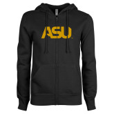 ENZA Ladies Black Fleece Full Zip Hoodie-ASU