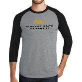 Grey/Black Tri Blend Baseball Raglan-ASU Alabama State University