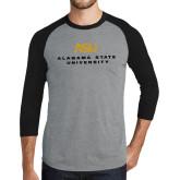 Grey/Black Tri Blend Baseball Raglan-ASU Alabama State University