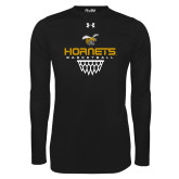 Under Armour Black Long Sleeve Tech Tee-Basketball Geometric Net