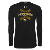 Under Armour Black Long Sleeve Tech Tee-Baseball Seams
