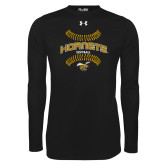 Under Armour Black Long Sleeve Tech Tee-Softball Seams