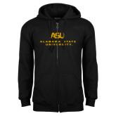 Black Fleece Full Zip Hoodie-ASU Alabama State University