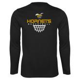 Performance Black Longsleeve Shirt-Basketball Geometric Net