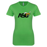 Next Level Ladies SoftStyle Junior Fitted Kelly Green Tee-Official Logo
