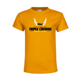 Youth Gold T Shirt-Five Straight Triple Crowns Womens Track 2016