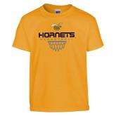 Youth Gold T Shirt-Basketball Geometric Net