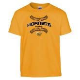 Youth Gold T Shirt-Baseball Seams