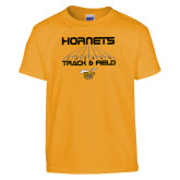Youth Gold T Shirt-Track and Field Lanes
