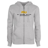 ENZA Ladies Grey Fleece Full Zip Hoodie-ASU Alabama State University