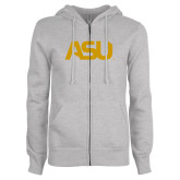 ENZA Ladies Grey Fleece Full Zip Hoodie-ASU