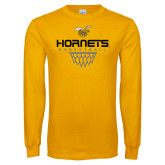 Gold Long Sleeve T Shirt-Basketball Geometric Net