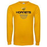 Gold Long Sleeve T Shirt-Basketball Geometric Net