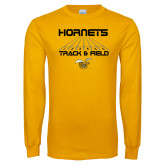 Gold Long Sleeve T Shirt-Track and Field Lanes