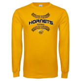 Gold Long Sleeve T Shirt-Softball Seams