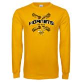 Gold Long Sleeve T Shirt-Softball Seams