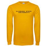 Gold Long Sleeve T Shirt-Alabama State University