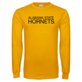 Gold Long Sleeve T Shirt-Alabama State Hornets Stacked