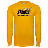 Gold Long Sleeve T Shirt-Basketball