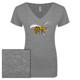 ENZA Ladies Graphite Melange V Neck Tee-Hornet
