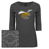 Ladies Charcoal Heather Tri Blend Lace 3/4 Sleeve Tee-Hornet