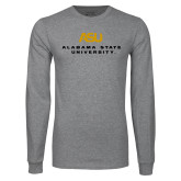 Grey Long Sleeve T Shirt-ASU Alabama State University