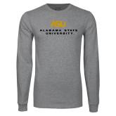 Grey Long Sleeve T Shirt-ASU Alabama State University