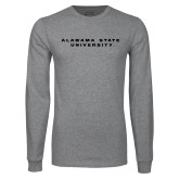 Grey Long Sleeve T Shirt-Alabama State University