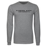 Grey Long Sleeve T Shirt-Alabama State University