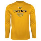 Syntrel Performance Gold Longsleeve Shirt-Basketball Geometric Net