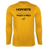Performance Gold Longsleeve Shirt-Track and Field Lanes