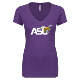 Next Level Ladies Vintage Purple Rush Tri Blend V Neck Tee-Official Logo
