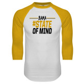 White/Gold Raglan Baseball T Shirt-Bama State of Mind