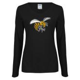 Ladies Black Long Sleeve V Neck Tee-Hornet