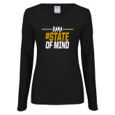 Ladies Black Long Sleeve V Neck T Shirt-Bama State of Mind