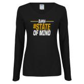 Ladies Black Long Sleeve V Neck Tee-Bama State of Mind