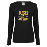 Ladies Black Long Sleeve V Neck Tee-ASU HC 2K17