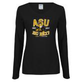 Ladies Black Long Sleeve V Neck T Shirt-ASU HC 2K17