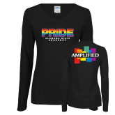 Ladies Black Long Sleeve V Neck Tee-PRIDE