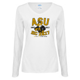 Ladies White Long Sleeve V Neck Tee-ASU HC 2K17