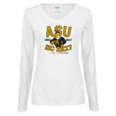 Ladies White Long Sleeve V Neck T Shirt-ASU HC 2K17