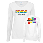 Ladies White Long Sleeve V Neck Tee-PRIDE