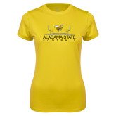 Ladies Syntrel Performance Gold Tee-Football Field