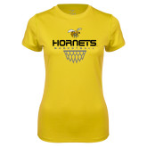 Ladies Syntrel Performance Gold Tee-Basketball Geometric Net