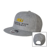 Heather Grey Wool Blend Flat Bill Snapback Hat-ASU Alabama State University