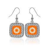 Crystal Studded Square Pendant Silver Dangle Earrings-Spark