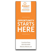 33.5 x 80 Vertical Banner including Silver Retractable Banner Stand-Opportunity Starts Here