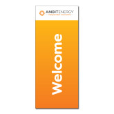 33.5 x 80 Vertical Banner including Silver Retractable Banner Stand-Orange Welcome Banner
