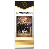 33.5 x 80 Vertical Banner including Silver Retractable Banner Stand-Success PopUp Banner Atkinson TX