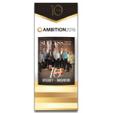 33.5 x 80 Vertical Banner including Silver Retractable Banner Stand-Success PopUp Banner Mason